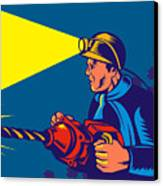 Miner With Jack Drill Canvas Print