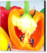 Mining In Colorful Peppers Canvas Print by Paul Ge