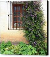 Mission Window With Purple Flowers Vertical Canvas Print