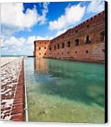 Moat And Walls Of Fort Jefferson Canvas Print by George Oze
