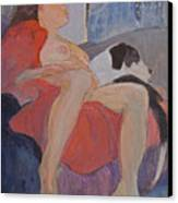 Model With Dog Canvas Print