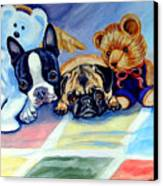 Mom Can She Stay Over - Pug And Boston Terrier Canvas Print by Lyn Cook