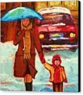 Moms Blue Umbrella Canvas Print