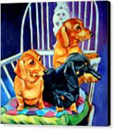 Mom's In The Kitchen - Dachshund Canvas Print by Lyn Cook