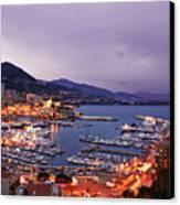 Monaco Harbor At Night Canvas Print by Matt Tilghman
