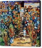 Monets Flower Garden Canvas Print