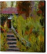 Monet's Garden Cottage Canvas Print by Colleen Murphy