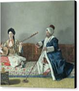 Monsieur Levett And Mademoiselle Helene Glavany In Turkish Costumes Canvas Print by Jean Etienne Liotard