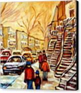 Montreal City Scene In Winter Canvas Print