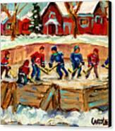 Montreal Hockey Rinks Urban Scene Canvas Print by Carole Spandau
