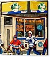 Montreal Poolroom Hockey Fans Canvas Print by Carole Spandau