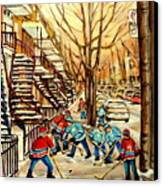 Montreal Street Hockey Paintings Canvas Print