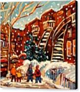 Montreal Street In Winter Canvas Print by Carole Spandau