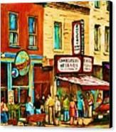 Montreal Streetscene Artist Carole Spandau Paints Schwartzs Main Street Hustle Bustle Canvas Print