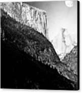 Moon Over Half Dome . Black And White Canvas Print