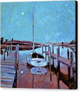 Moonlight On The Bay Canvas Print by David Lloyd Glover