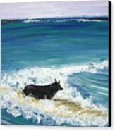 Moonlight Surfer Girl. Canvas Print