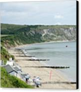 Morning Bay Pt Looking Up Swanage Bay On A Summer Morning Beach Scene Canvas Print by Andy Smy