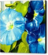 Morning Glories In Blue Canvas Print by Janis Grau