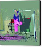 Morning In Her Pink Pajamas Canvas Print by Lenore Senior