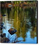 Morning Reflections On Chad Lake Canvas Print by Larry Ricker