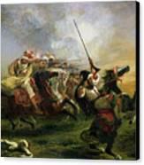 Moroccan Horsemen In Military Action Canvas Print by Ferdinand Victor Eugene Delacroix