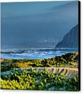 Morro Rock And Beach Canvas Print by Steven Ainsworth