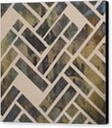 Mosque Herringbone Blue Canvas Print by Salwa  Najm