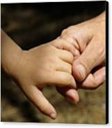 Mother Holding Baby Daughter's Hand Canvas Print by Sami Sarkis