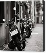 Motorbikes Parked On Street In Tokyo, Japan Canvas Print by photo by Jason Weddington