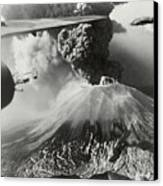 Mount Vesuvius Coughs Up Ash And Smoke Canvas Print by Us Army Air Forces Official