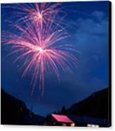 Mountain Fireworks Landscape Canvas Print