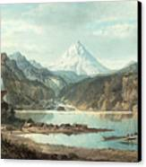 Mountain Landscape With Indians Canvas Print