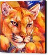 Mountain Lion Red-yellow-blue Canvas Print