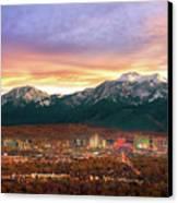 Mountain Twilight Of Reno Nevada Canvas Print by Vance Fox