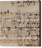 Mozart: Motet Manuscript Canvas Print by Granger