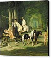 Mr And Mrs A Mosselman And Their Two Daughters Canvas Print by Alfred Dedreux