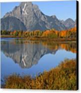 Mt. Moran Fall Reflection  Canvas Print by Sandra Bronstein