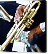 Music Man Trumpet Canvas Print by Linda  Parker