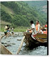 Naked Tracker Boatman Pulling Tourists Canvas Print