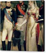 Napoleon Bonaparte Receiving Queen Louisa Of Prussia Canvas Print