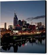 Nashville Skyline And The Cumberland Canvas Print by Everett