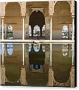 Nasrid Palace Arches Reflection At The Alhambra Granada Canvas Print