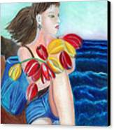 Natasha By The Sea Canvas Print by Pilar  Martinez-Byrne