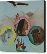 Native American Circle Of Life Canvas Print by Jessica Hallberg