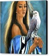 Native American Maiden With Falcon Canvas Print