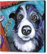 Naughty Border Collie Canvas Print by Dottie Dracos