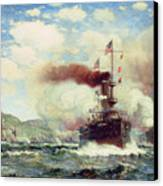 Naval Battle Explosion Canvas Print by James Gale Tyler