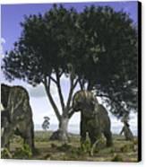 Nedoceratops Graze Beneath A Giant Oak Canvas Print