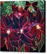 Neon Poinsettias Canvas Print